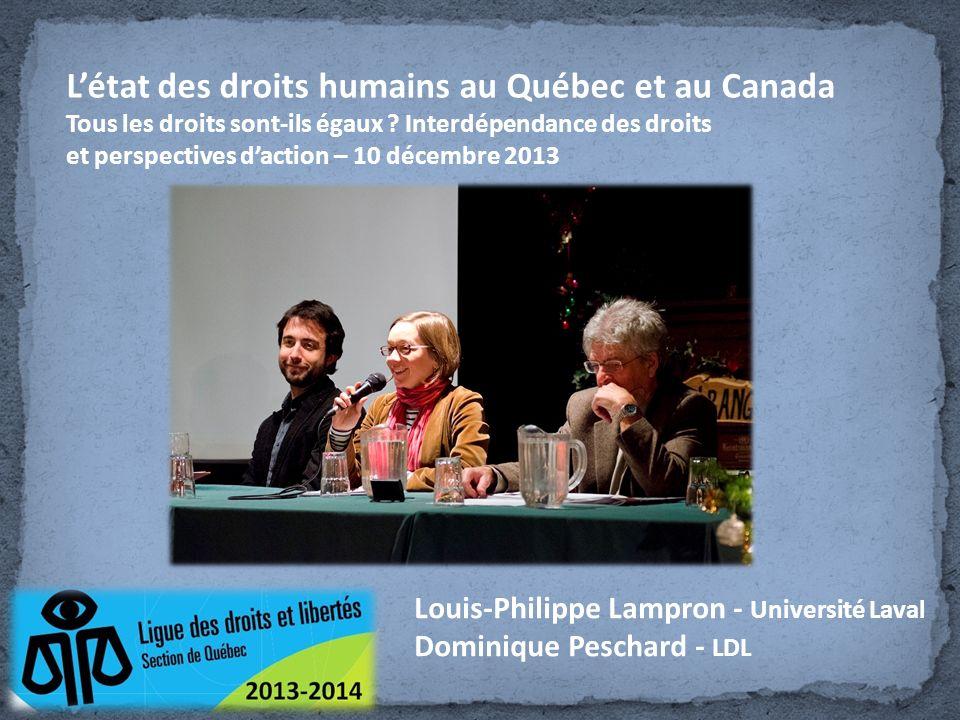 L'état des droits humains au Québec et au Canada