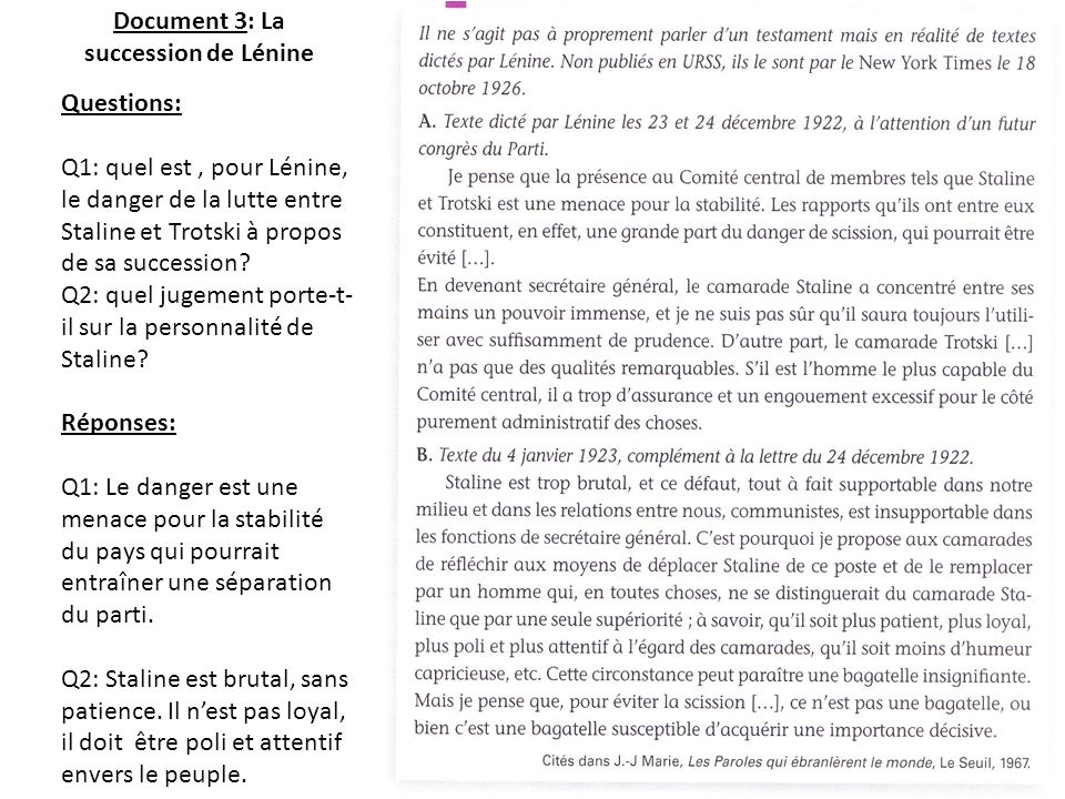 Document 3: La succession de Lénine