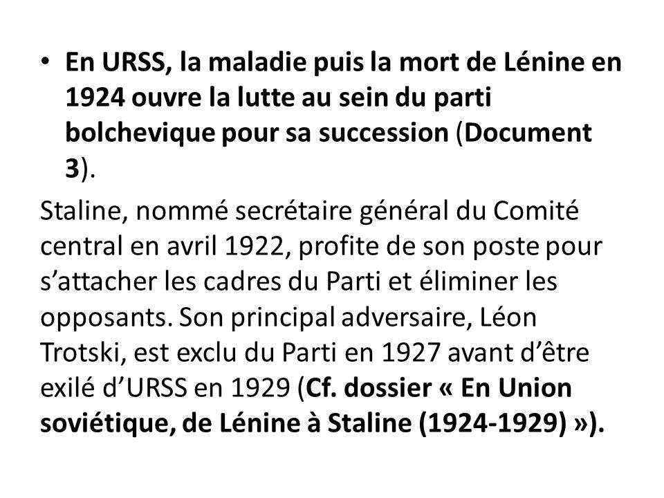 En URSS, la maladie puis la mort de Lénine en 1924 ouvre la lutte au sein du parti bolchevique pour sa succession (Document 3).