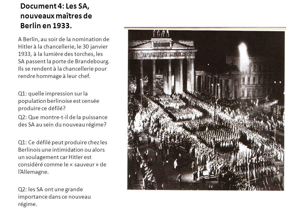 Document 4: Les SA, nouveaux maîtres de Berlin en 1933.