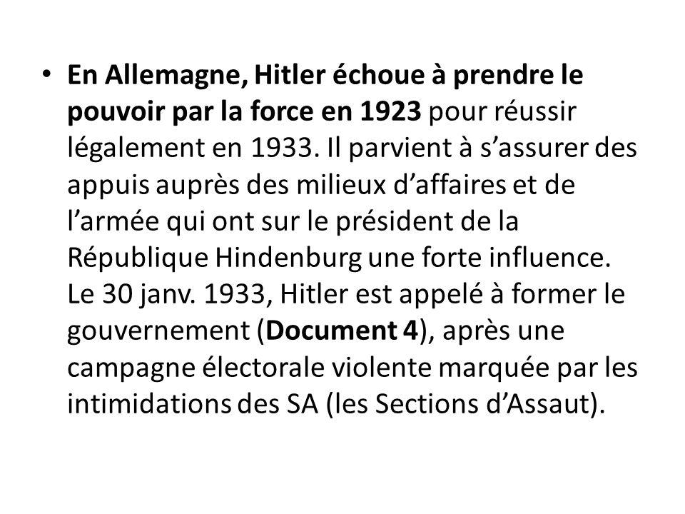 En Allemagne, Hitler échoue à prendre le pouvoir par la force en 1923 pour réussir légalement en 1933.