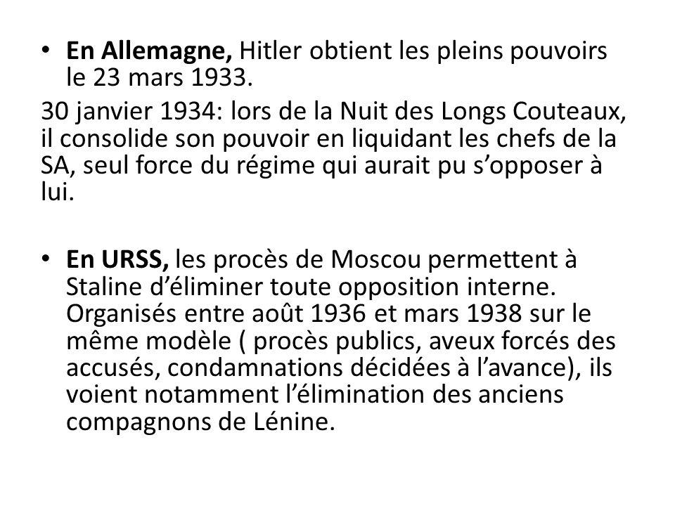 En Allemagne, Hitler obtient les pleins pouvoirs le 23 mars 1933.