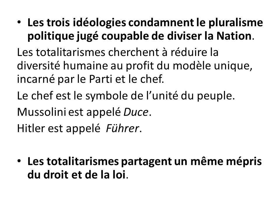 Les trois idéologies condamnent le pluralisme politique jugé coupable de diviser la Nation.