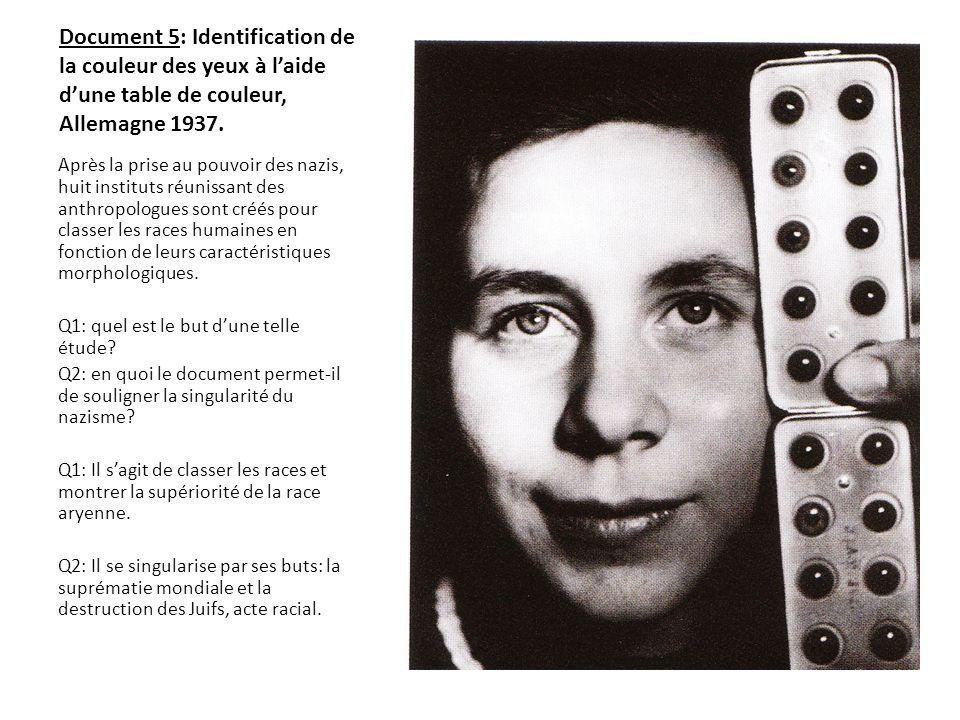 Document 5: Identification de la couleur des yeux à l'aide d'une table de couleur, Allemagne 1937.