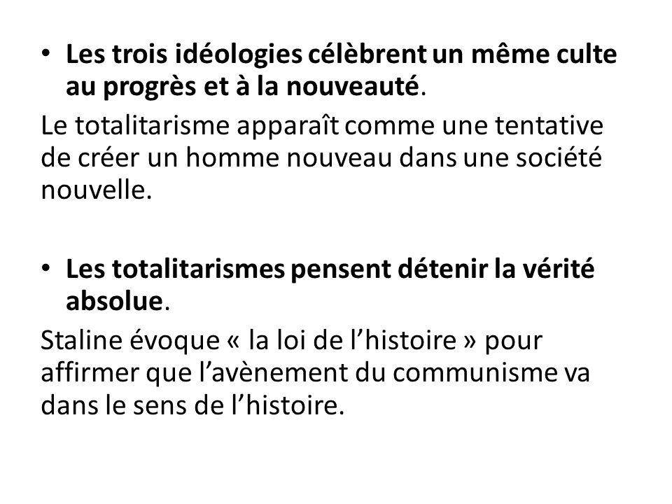 Les trois idéologies célèbrent un même culte au progrès et à la nouveauté.