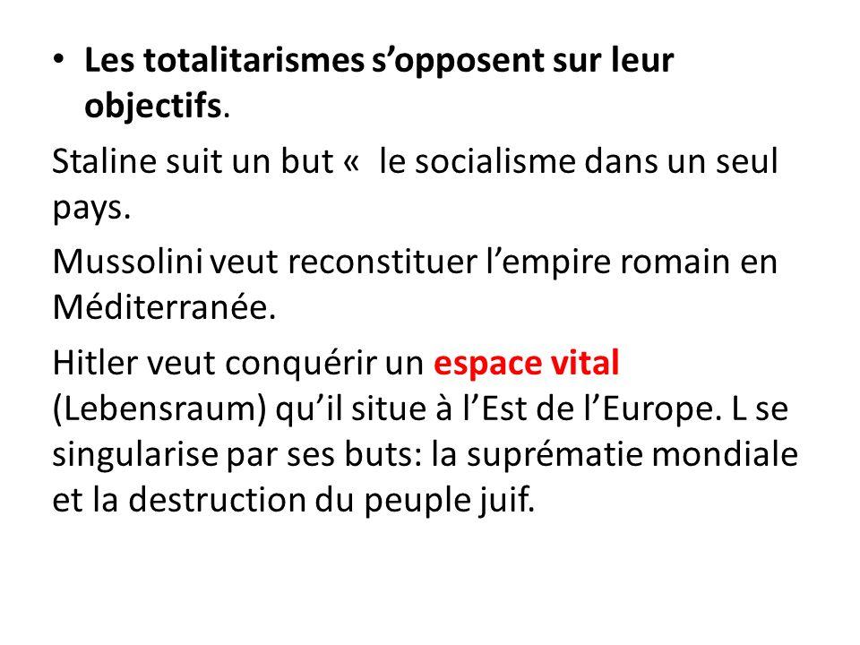 Les totalitarismes s'opposent sur leur objectifs.