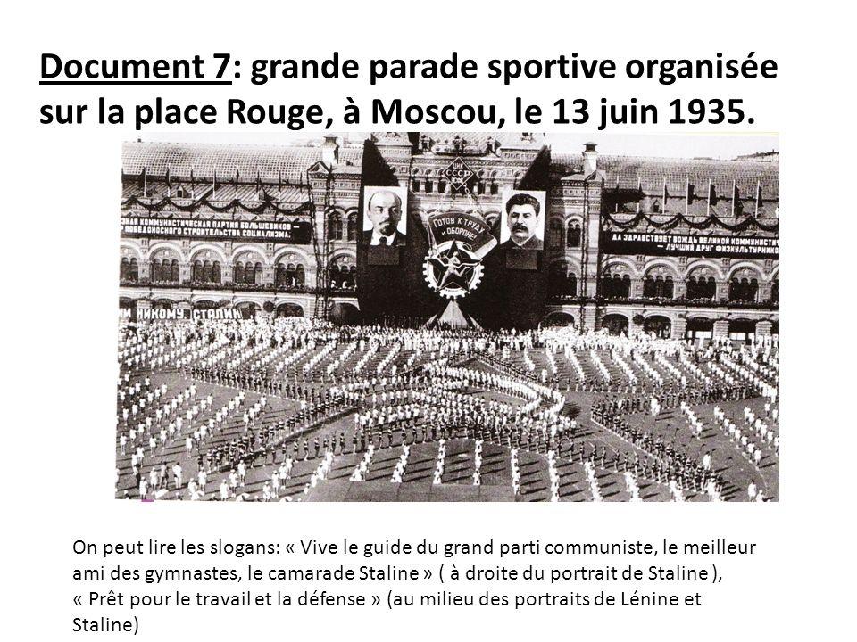 Document 7: grande parade sportive organisée sur la place Rouge, à Moscou, le 13 juin 1935.