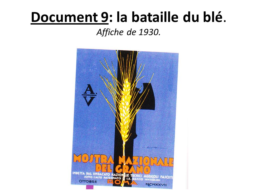 Document 9: la bataille du blé. Affiche de 1930.
