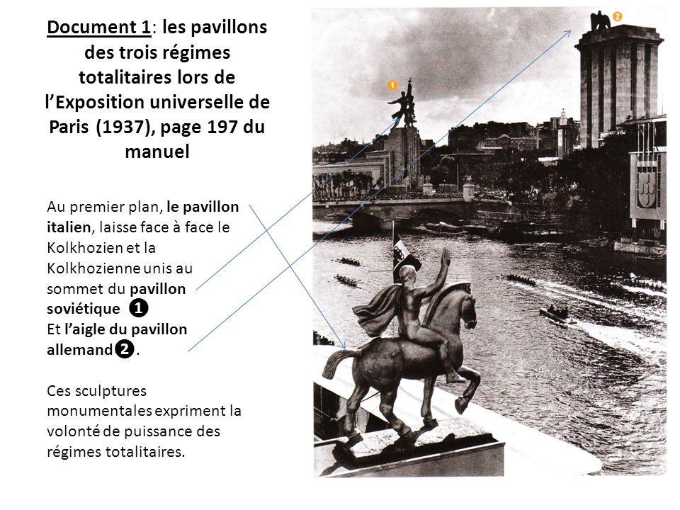 Document 1: les pavillons des trois régimes totalitaires lors de l'Exposition universelle de Paris (1937), page 197 du manuel