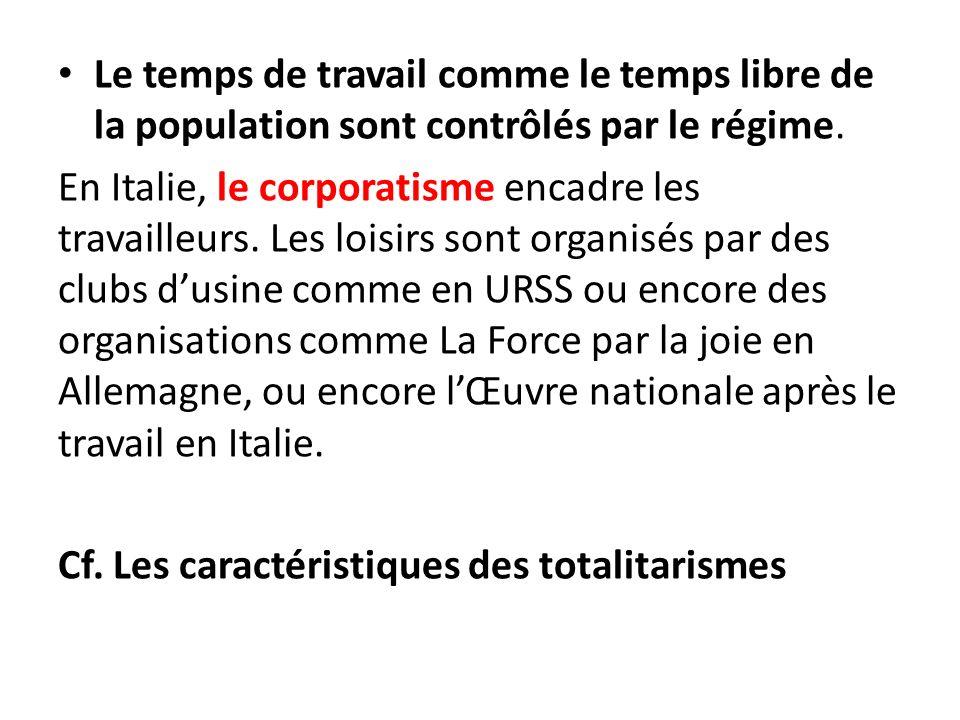 Le temps de travail comme le temps libre de la population sont contrôlés par le régime.