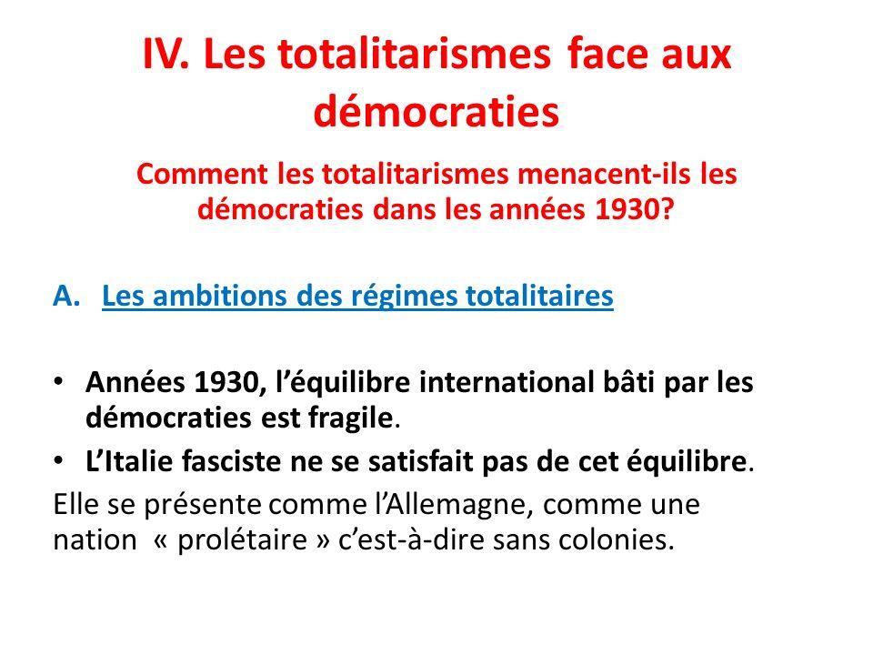 IV. Les totalitarismes face aux démocraties