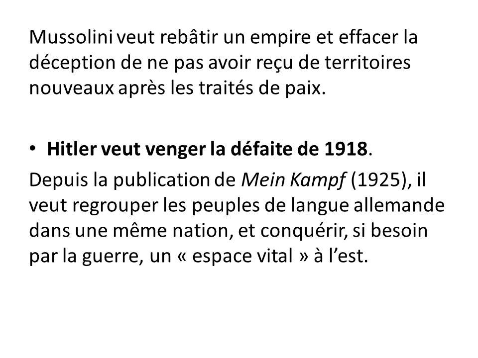 Mussolini veut rebâtir un empire et effacer la déception de ne pas avoir reçu de territoires nouveaux après les traités de paix.