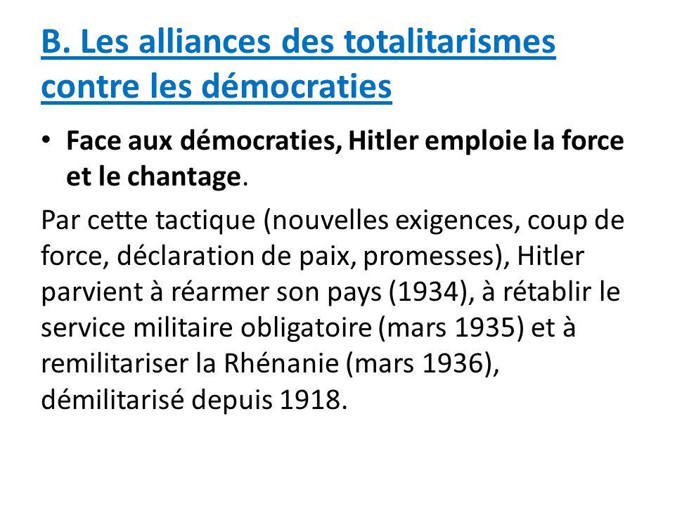 B. Les alliances des totalitarismes contre les démocraties
