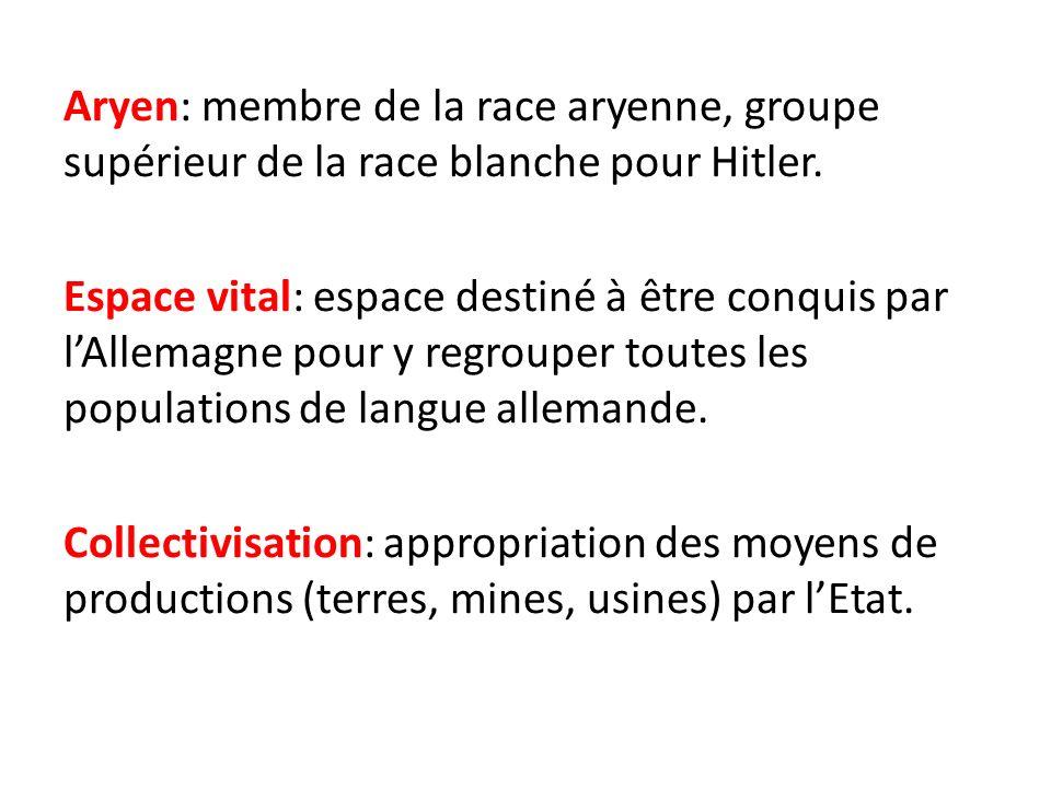 Aryen: membre de la race aryenne, groupe supérieur de la race blanche pour Hitler.