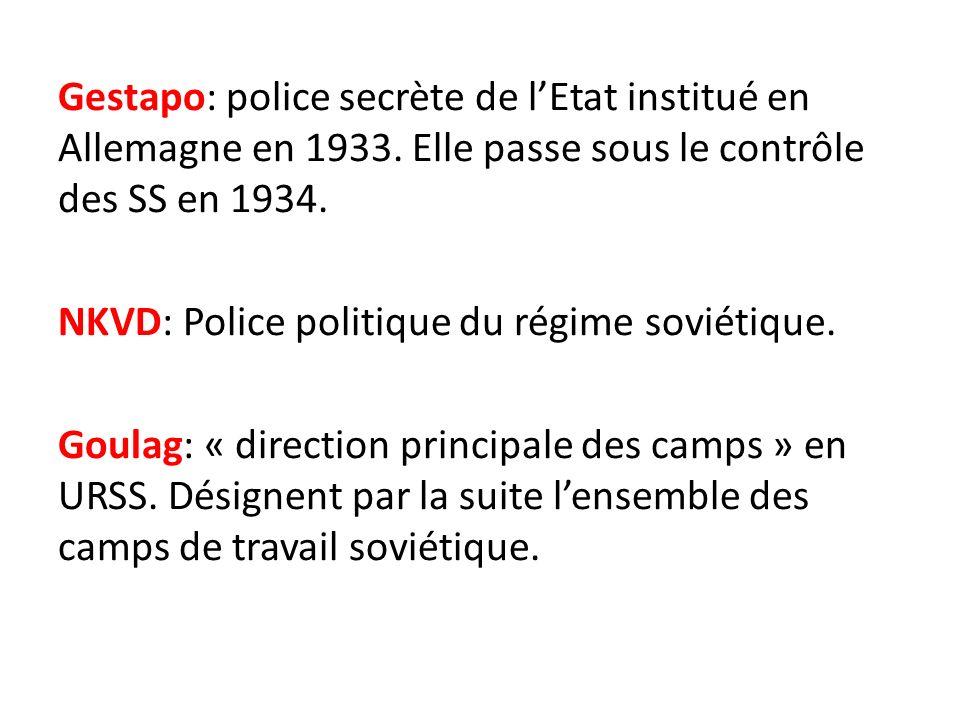 Gestapo: police secrète de l'Etat institué en Allemagne en 1933