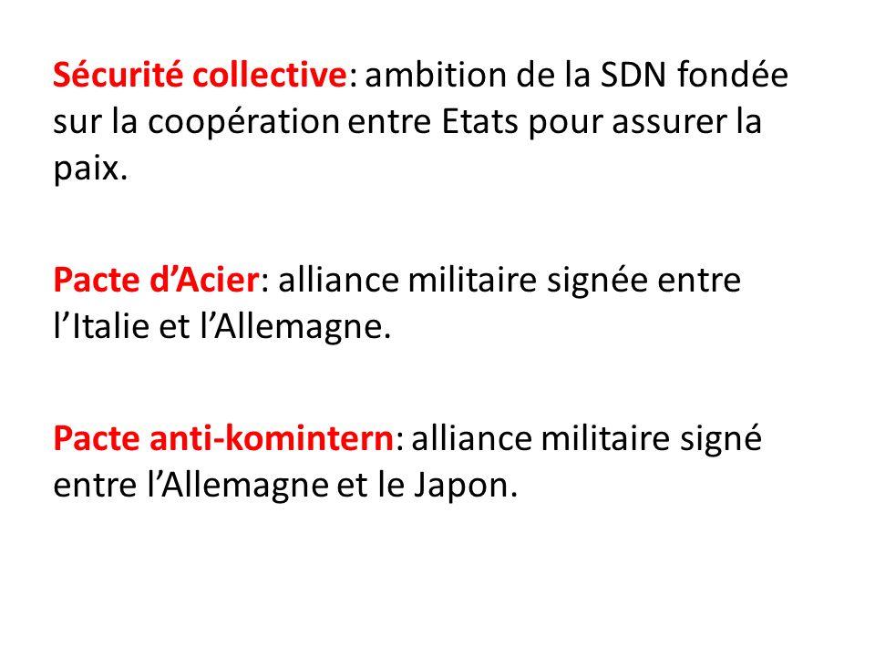 Sécurité collective: ambition de la SDN fondée sur la coopération entre Etats pour assurer la paix.