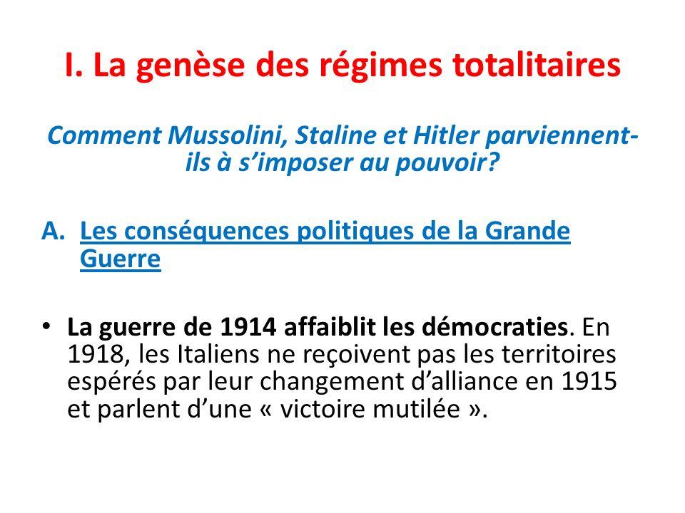 I. La genèse des régimes totalitaires