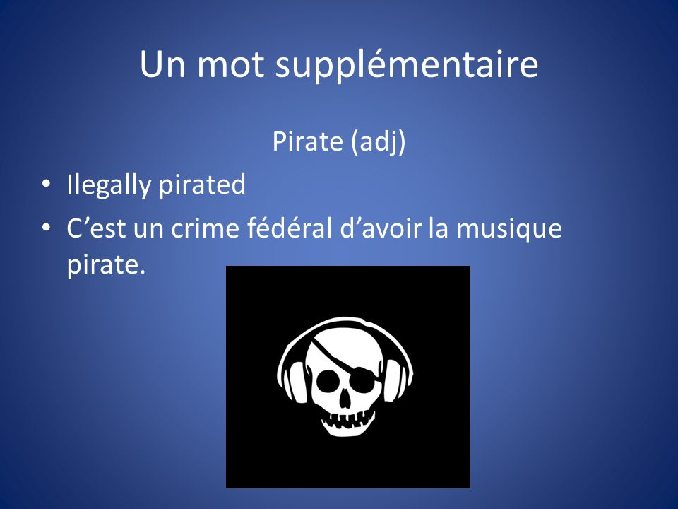 Un mot supplémentaire Pirate (adj) Ilegally pirated