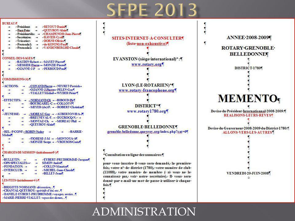 SFPE 2013 ADMINISTRATION