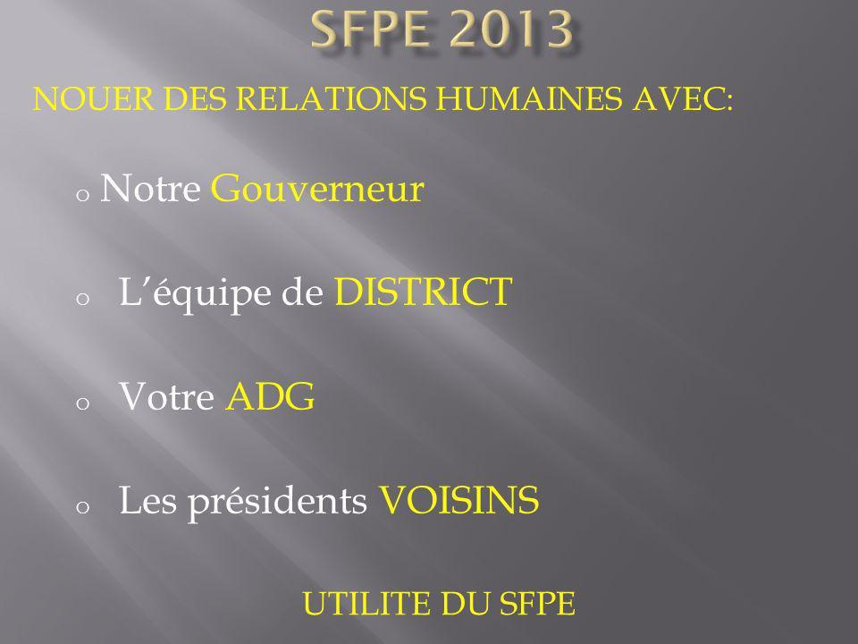 SFPE 2013 Notre Gouverneur L'équipe de DISTRICT Votre ADG
