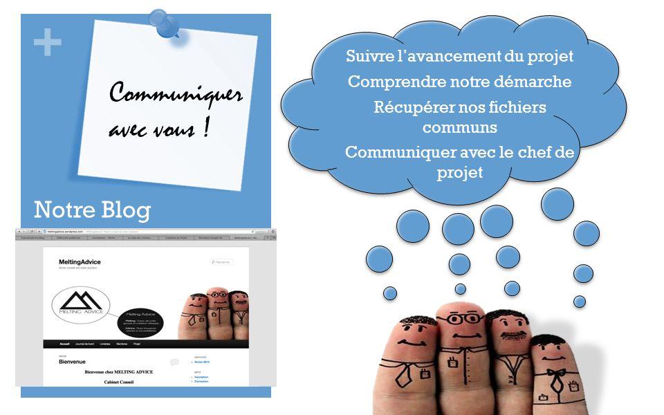Communiquer avec vous ! Notre Blog Suivre l'avancement du projet