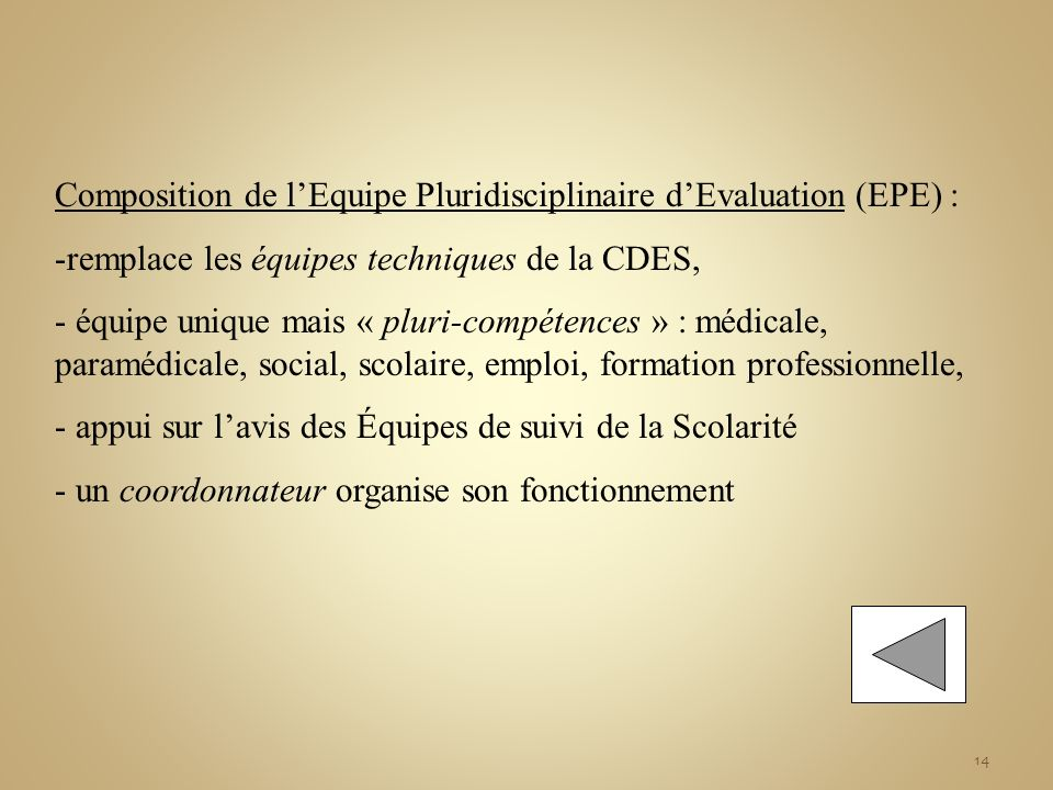 Composition de l'Equipe Pluridisciplinaire d'Evaluation (EPE) :