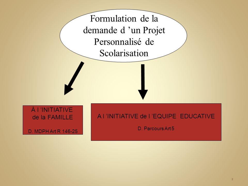Formulation de la demande d 'un Projet Personnalisé de Scolarisation