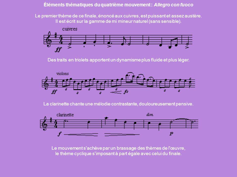 Éléments thématiques du quatrième mouvement : Allegro con fuoco