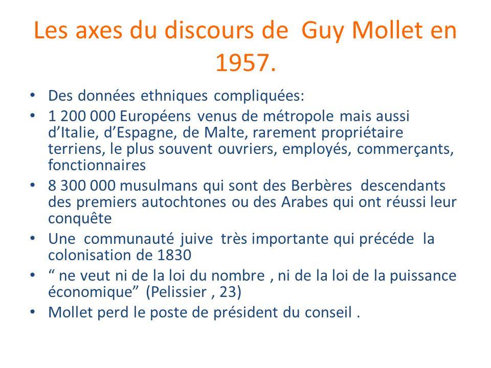 Les axes du discours de Guy Mollet en 1957.