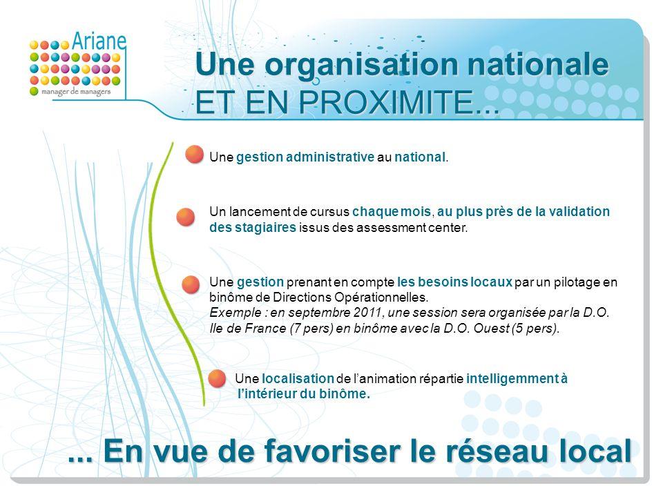 Une organisation nationale ET EN PROXIMITE...