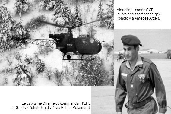 Alouette II, codée CXF, survolant la forêt enneigée (photo via Amédée Arzel).