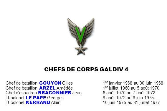 CHEFS DE CORPS GALDIV 4 Chef de bataillon GOUYON Gilles 1er janvier 1968 au 30 juin 1968.