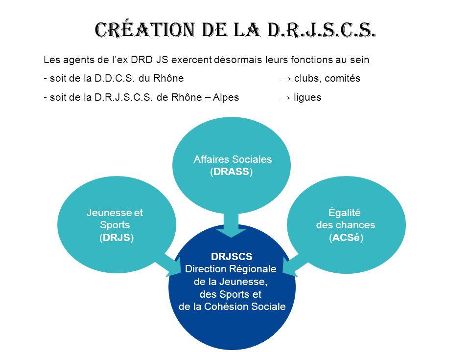 Création de la D.R.J.S.C.S. Les agents de l'ex DRD JS exercent désormais leurs fonctions au sein.