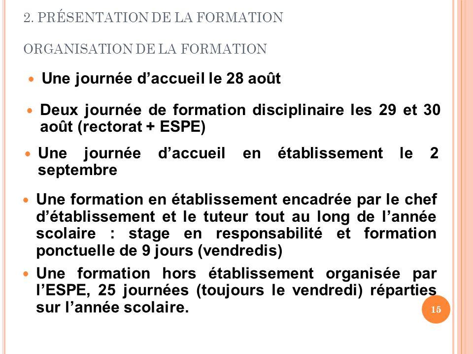 2. PRÉSENTATION DE LA FORMATION ORGANISATION DE LA FORMATION