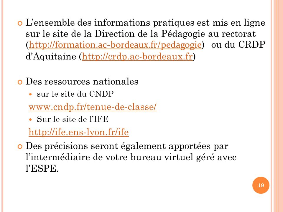 Des ressources nationales www.cndp.fr/tenue-de-classe/