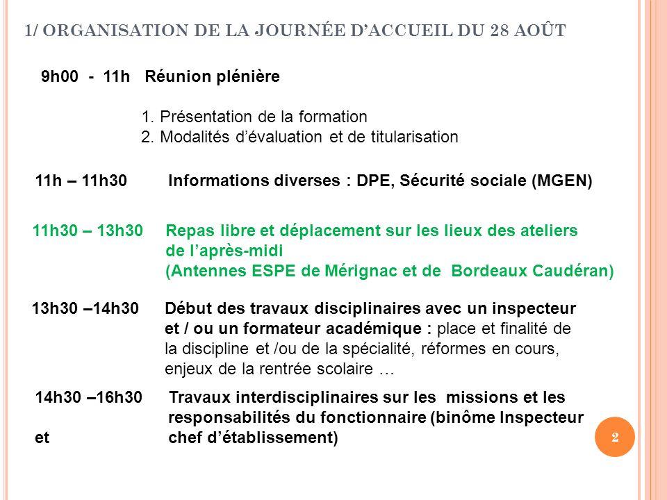 1/ ORGANISATION DE LA JOURNÉE D'ACCUEIL DU 28 AOÛT