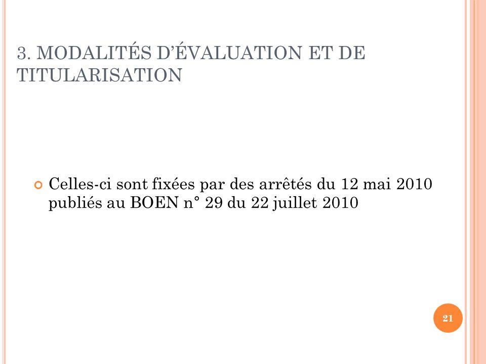 3. MODALITÉS D'ÉVALUATION ET DE TITULARISATION