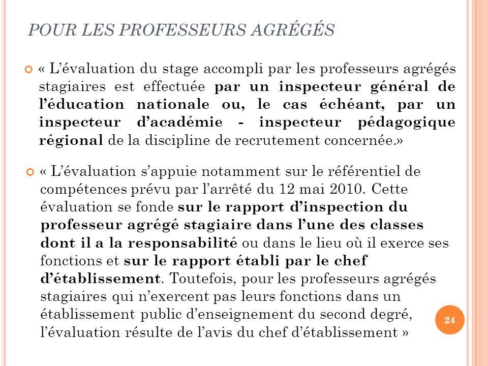 POUR LES PROFESSEURS AGRÉGÉS
