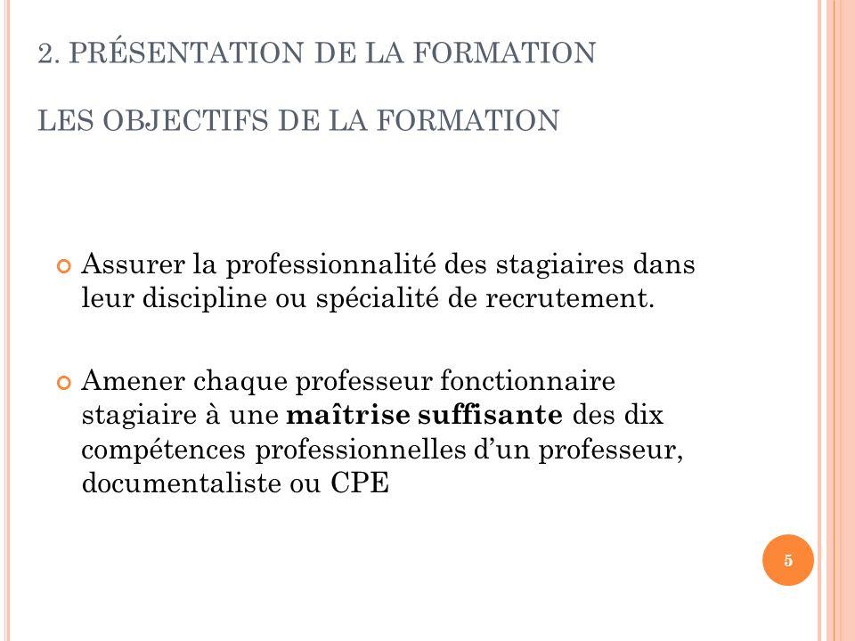2. PRÉSENTATION DE LA FORMATION LES OBJECTIFS DE LA FORMATION