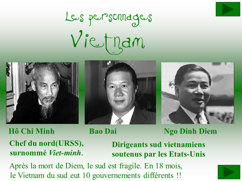 Dirigeants sud vietnamiens soutenus par les Etats-Unis