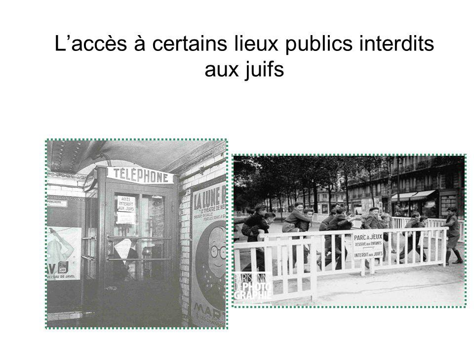 L'accès à certains lieux publics interdits aux juifs