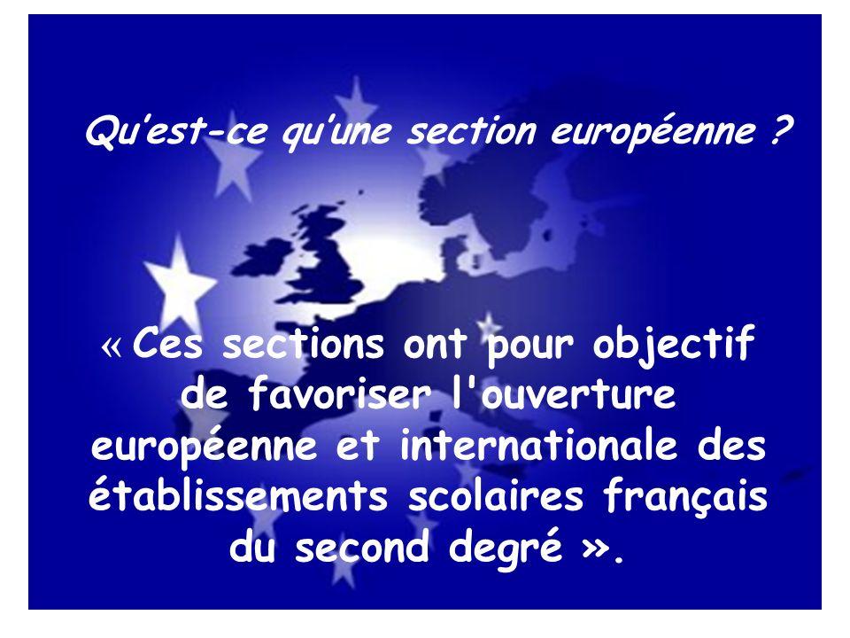 Qu'est-ce qu'une section européenne