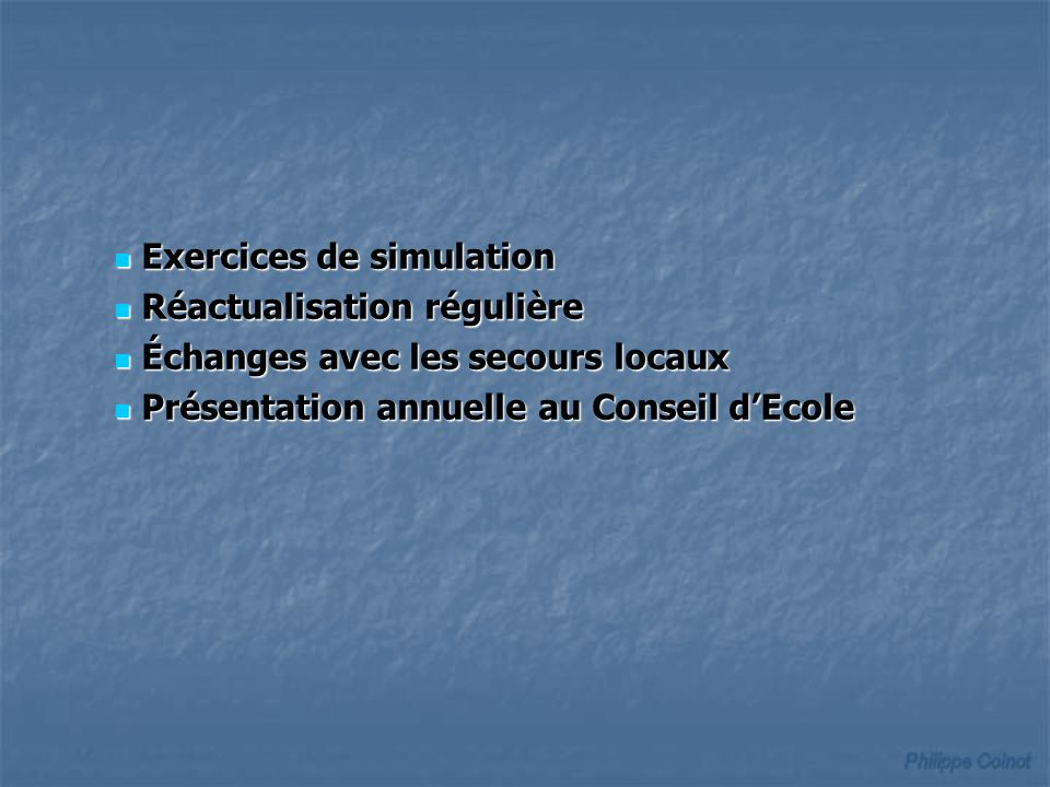 Exercices de simulation