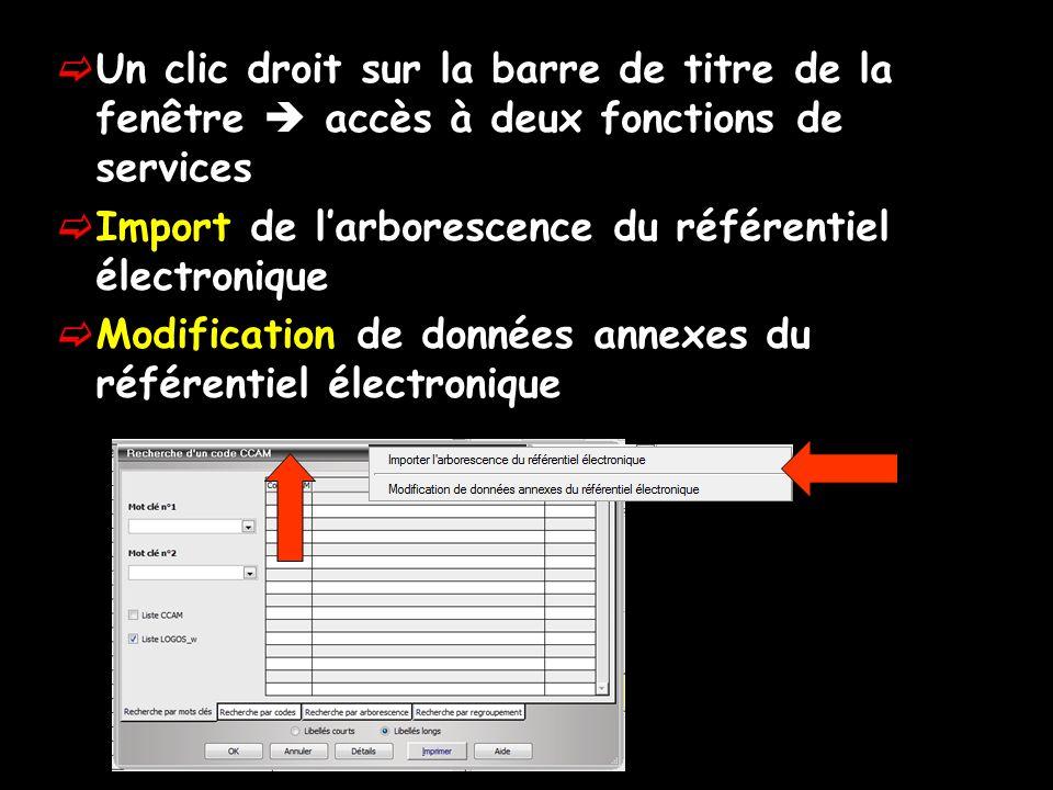 Un clic droit sur la barre de titre de la fenêtre  accès à deux fonctions de services