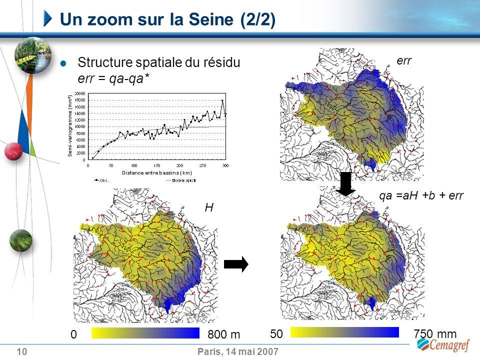 Un zoom sur la Seine (2/2) Structure spatiale du résidu err = qa-qa*