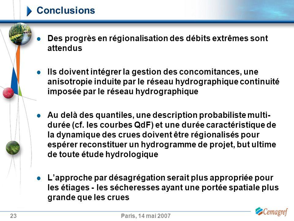Conclusions Des progrès en régionalisation des débits extrêmes sont attendus.