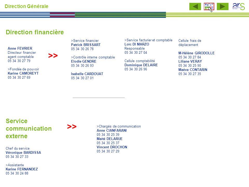 >> >> Direction financière Service communication externe