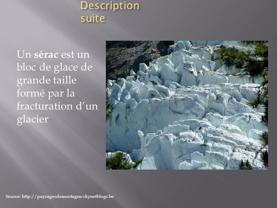 Description suite Un sérac est un bloc de glace de grande taille formé par la fracturation d'un glacier.