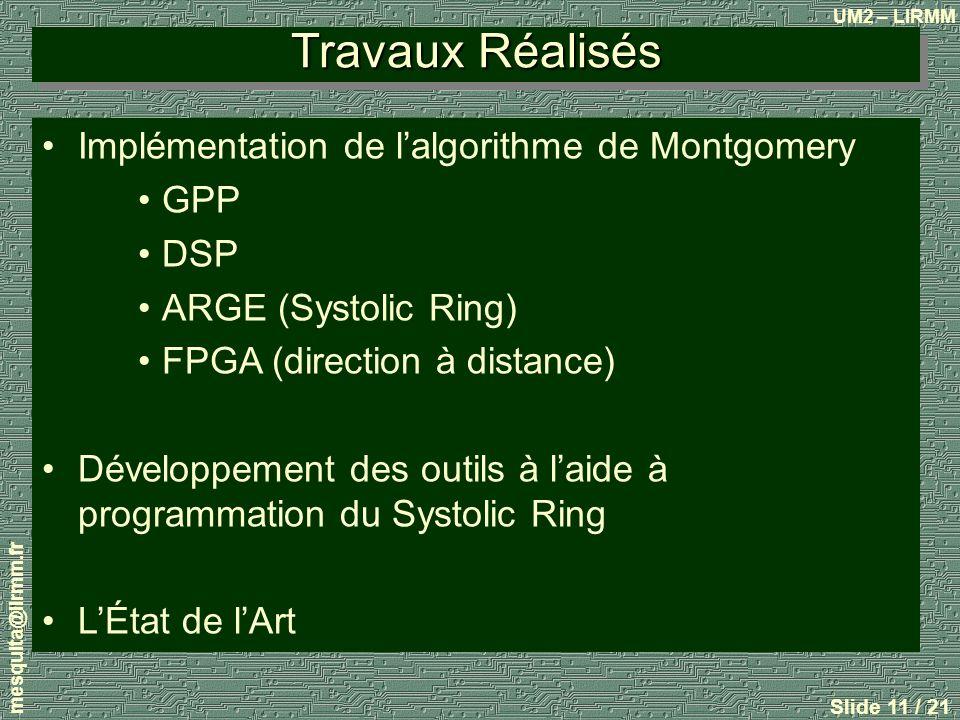 Travaux Réalisés Implémentation de l'algorithme de Montgomery GPP DSP