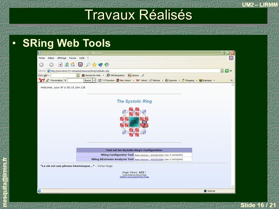 Travaux Réalisés SRing Web Tools mesquita@lirmm.fr